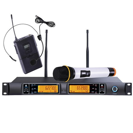 uhf 200 channel wireless mic system handheld headset microphone 30ft smt dual lcd show party. Black Bedroom Furniture Sets. Home Design Ideas