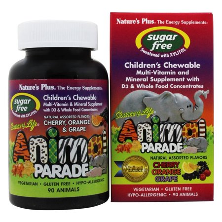 Animal Vitamins - Nature's Plus - Source Of Life Animal Parade Children's Multi-Vitamin and Mineral Assorted Cherry, Orange & Grape - 90 Chewable Tablets