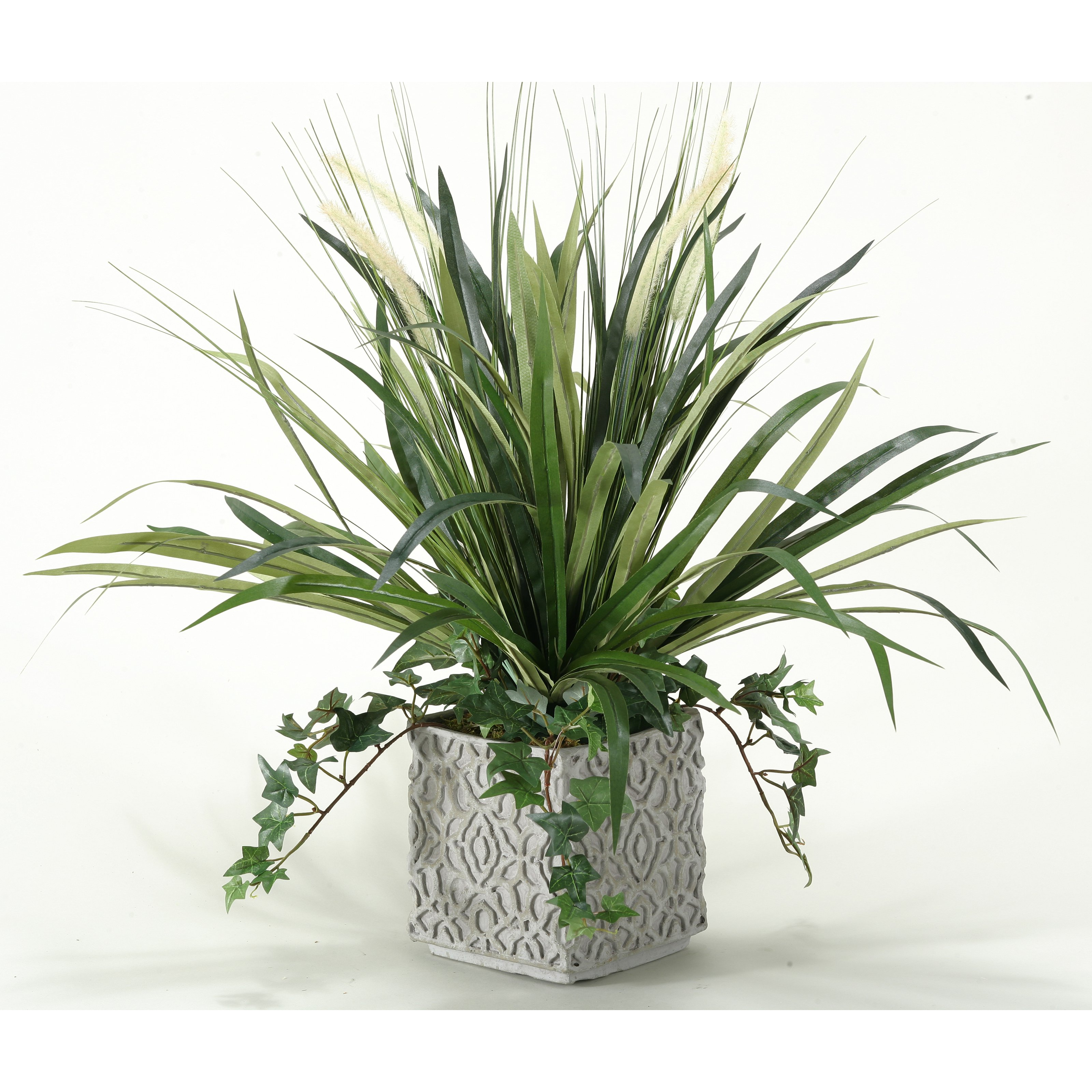 D & W Silks Onion Grass and Spider Plant in Square Ceramic Planter