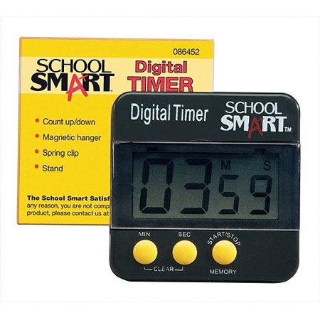 """School Smart Count Up and Count Down Big Digit Timer, 2.5"""" x 2.5"""", Black"""