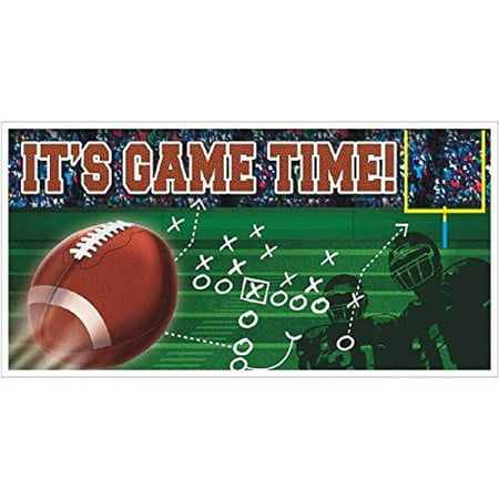 Football 'It's Game Time' Giant Plastic Banner (1ct) - Fantasy Football Banner