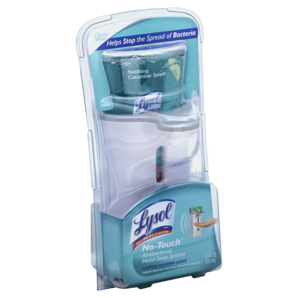 Lysol No-Touch Hand Soap - Starter Kit with Soothing Cucumber Splash White Soap