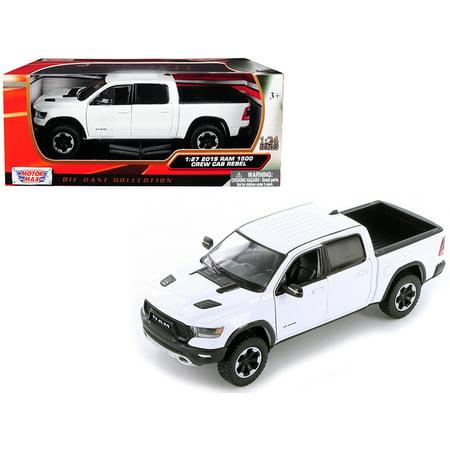 2019 Dodge Ram 1500 Crew Cab Rebel Pickup Truck White 1/24 Diecast Model Car by Motormax ()