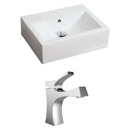 Rectangle Single Hole - American Imaginations 20.5-in. W x 16-in. D Rectangle Vessel Set In White Color With Single Hole CUPC Faucet