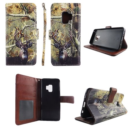 Deer Leather (Camo Tail Deer Wallet Folio Case for Samsung Galaxy S9 Fashion Flip PU Leather Cover Card Cash Slots & Stand)