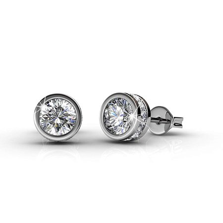 Cate & Chloe Mae 18k White Gold Plated Stud Earrings, Fancy Round Brilliant Earrings w/ Swarovski Crystals Beautiful Round Diamond Cut Crystal Stud for Women - MSRP