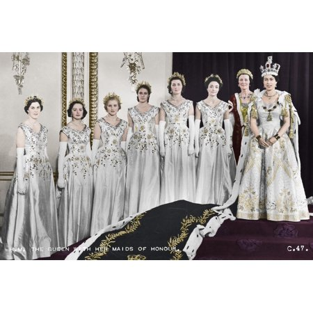 HM Queen Elizabeth II with her Maids of Honour, The Coronation, 2nd June 1953 Print Wall Art By Cecil Beaton