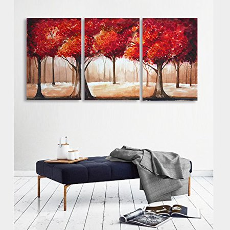 wall26 - 3 Piece Canvas Wall Art - Abstract Red Leaves Trees - Watercolor Painting Style Modern Home Decor - 24
