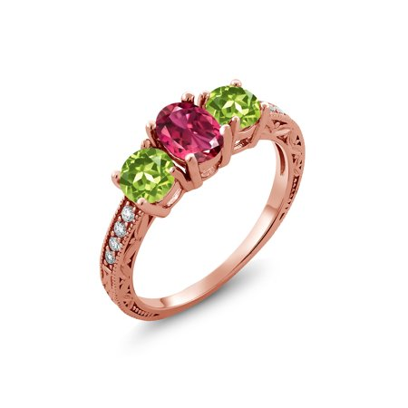 1.95 Ct Oval Pink Tourmaline Green Peridot 18K Rose Gold Plated Silver Ring