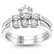 Luxurman 14k Gold 1 1/3ct TDW Diamond Designer Engagement Ring Set (G-H, SI1-SI2) 14k White Gold Size 8
