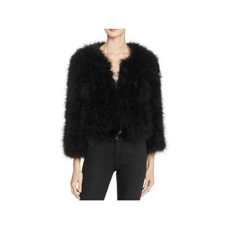 Rebecca Minkoff Womens Pacha Turkey Feathers Lined Jacket Black XS