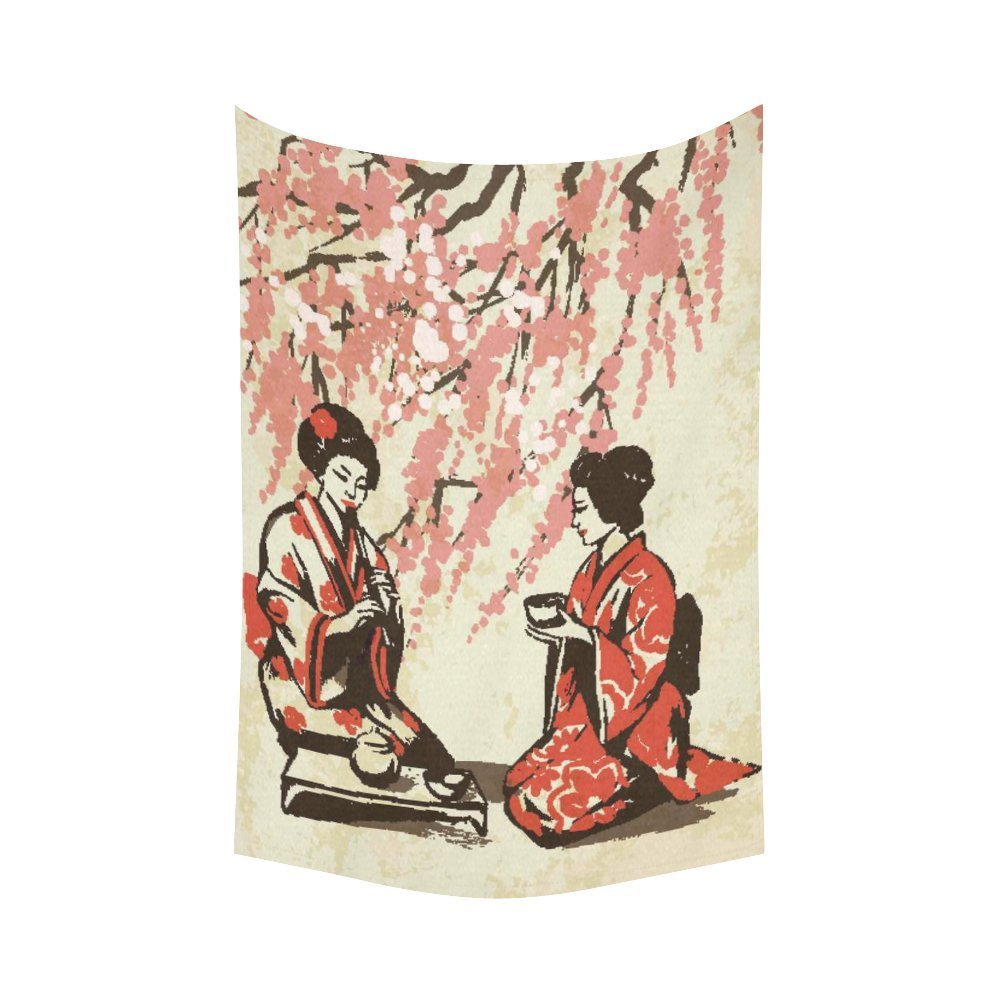 PHFZK Asian Wall Art Home Decor, Japanese Lady Wearing Kimono with Cherry Blossom Tree Tapestry Wall Hanging 60 X 90 Inches