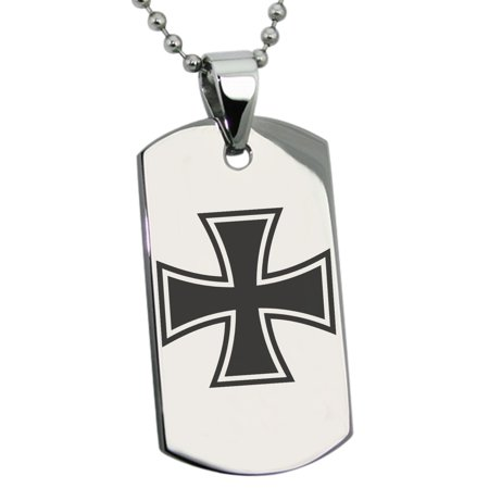 - Stainless Steel Pattee Iron Cross Engraved Dog Tag Pendant Necklace