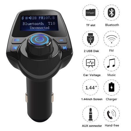 AGPtek Wireless Bluetooth FM Transmitter Radio Adapter Car Kit With USB Car Charger AUX Input 1.44