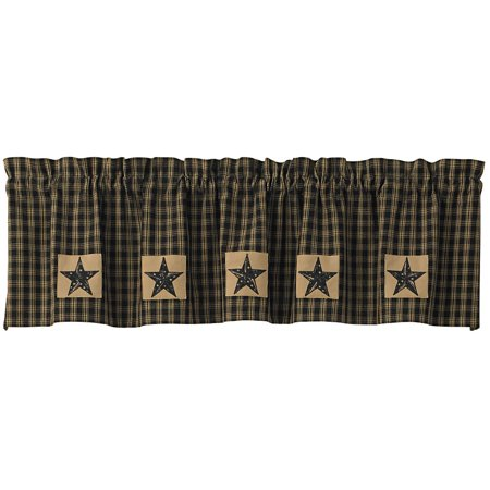 Sturbridge Star Patch Lined Valance by Park Designs Black or Wine