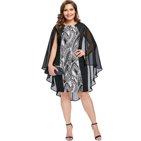 9ec2ab47d0d NEXTMIA - Sexy Party Plus Size Dress Print Sheath Cape Plus Size Dresses  For Women - Walmart.com
