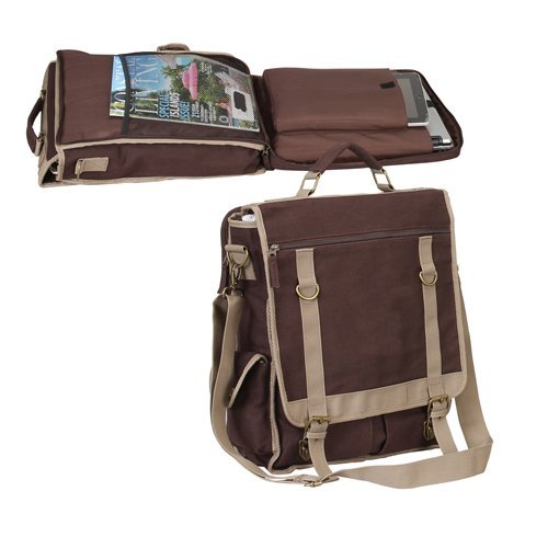 "Expresso Vertical Canvas 15"" Laptop Computer Brief Bag (B..."