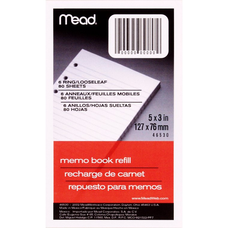 "Mead Memo Book Refill Pages, Loose-Leaf, Narrow Ruled, 3"" x 5"", 80 Sheets"