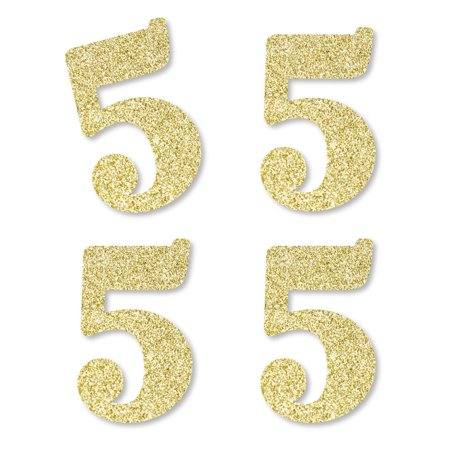 Gold Glitter 5 - No-Mess Real Gold Glitter Cut-Out Numbers - 5th Birthday Party Confetti - Set of 25