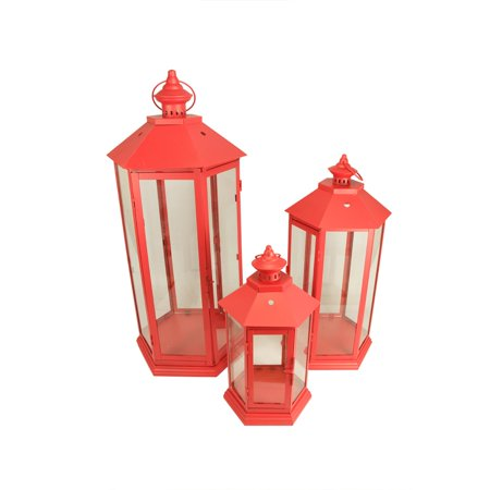 Set of 3 Red Traditional Style Pillar Candle Holder Lanterns - Red Lantern Seattle