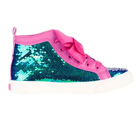 Jojo Siwa Girl's Sequin High Top Sneaker With Bow - Marvel Shoes For Kids