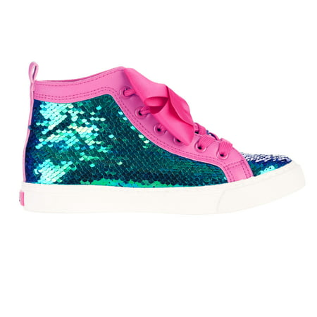 Jojo Siwa Girl's Sequin High Top Sneaker With Bow - Cute Shoes For Girls