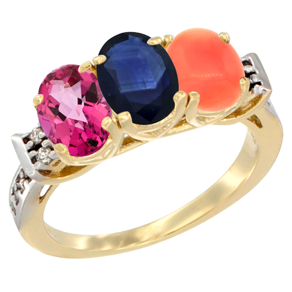 10K Yellow Gold Natural Pink Topaz, Blue Sapphire & Coral Ring 3-Stone Oval 7x5 mm Diamond Accent, sizes 5 10 by WorldJewels
