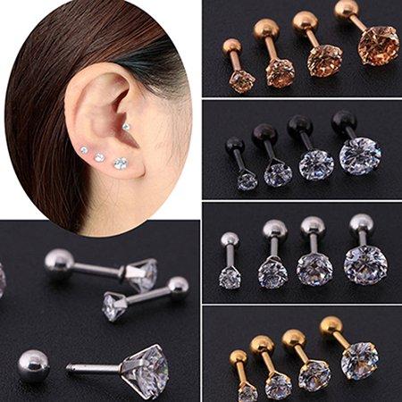 - Heepo Men Women Rhinestone Cartilage Tragus Bar Helix Upper Ear Earring Stud Jewelry