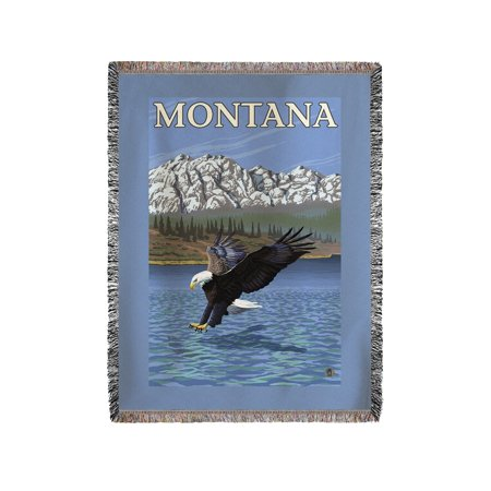 Bald Eagle Diving   Montana   Lp Original Poster  60X80 Woven Chenille Yarn Blanket