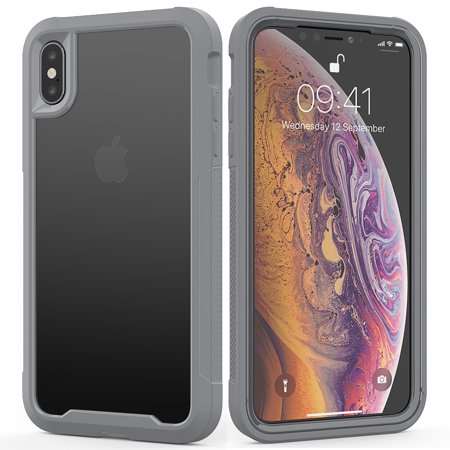 "iPhone XS Case 5.8"""" 2018, iPhone X Case, Allytech Hybrid Silicone PC Clear Heavy Duty Bumper Wireless Charging Support Shockproof Rugged Bumper Hard Shell Cover for Apple iPhone XS / X, Gray"