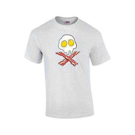 Bacon And Egg Breakfast Crossbones Adult T-Shirt-white-6xl
