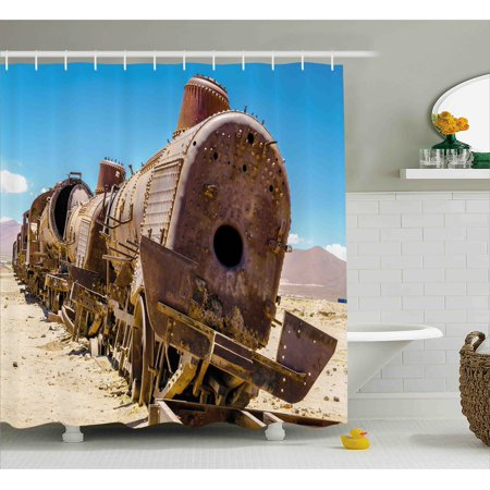 Vintage Shower Curtain, Rusty Old Abandoned Steam Train Locomotive Cemetery Metal Railroad Wreck Picture, Fabric Bathroom Set with Hooks, 69W X 70L Inches, Blue Brown, by - Picture Steam Train