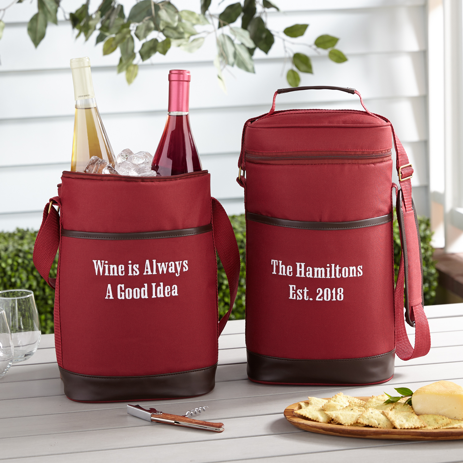 Unbranded Personalized Canvas & Leather Wine Cooler