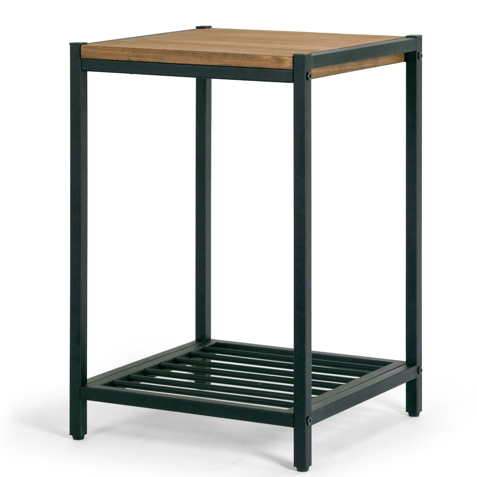 Click here to buy Ailis Brown Pine Wood Black Metal Frame End Table Accent Table by Glamour Home.