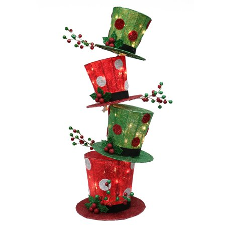 Christmas Hats With Lights (Puleo International 44 inch high Christmas Stacking Hat with 50 UL incandescent clear)
