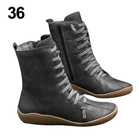 leking women retro arch support boots waterproof ankle