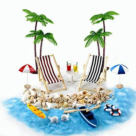 Beach Zen Garden Accessories, Mini Desktop Sandbox Decor, 16 Pcs Miniature Doll House Ornament Kits for DIY Fairy Garden Doll ()