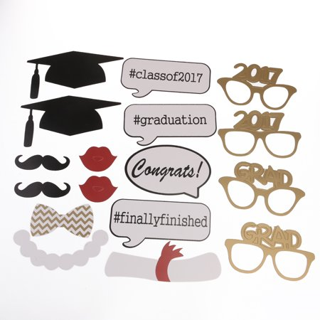 Graduation Party Phtoto Booth Props 2017 Graduation Party Decorations Attached to the Stick, 17pcs Pack