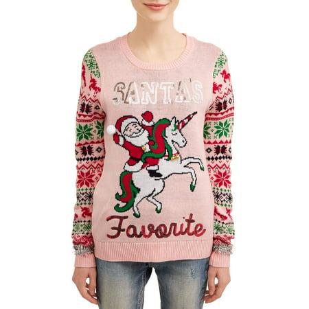 No Boundaries Juniors' Santa's Favorite Ugly Christmas Sweater ()