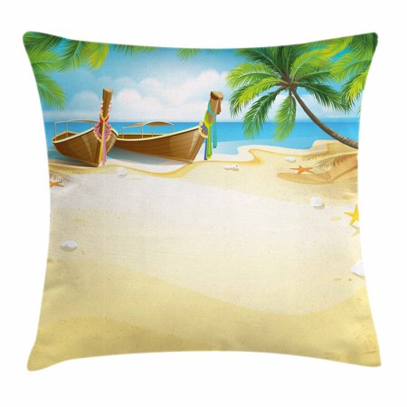 Beach Throw Pillow Cushion Cover, Paradise Island Coconut Tree and Boats Tropical Coastline Relaxation Environment, Decorative Square Accent Pillow Case, 24 X 24 Inches, Multicolor, by Ambesonne ()