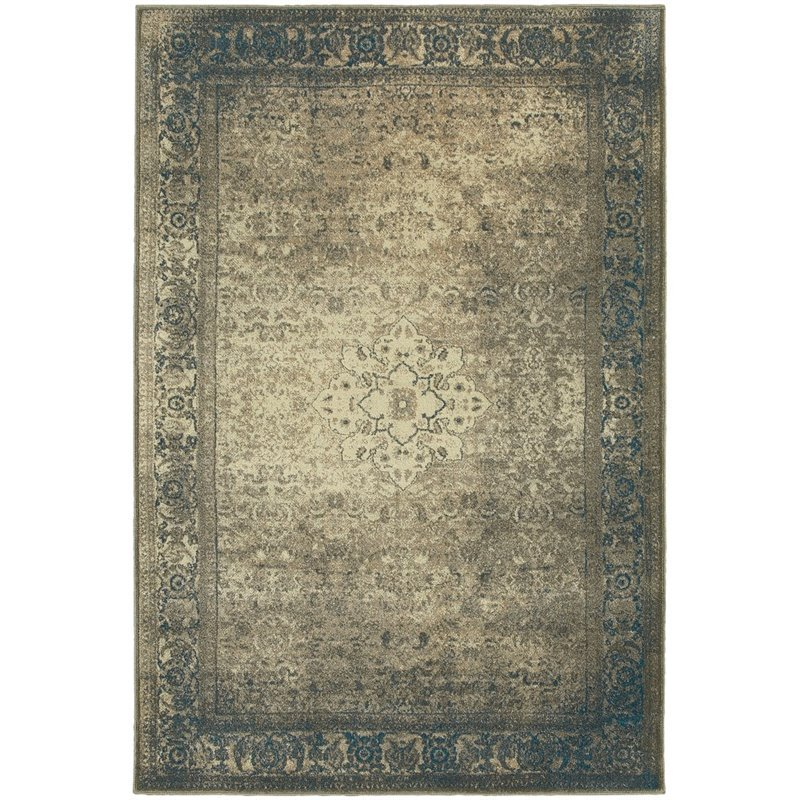 "Oriental Weavers Pasha 7'10"" x 10'10"" Machine Woven Rug in Blue"