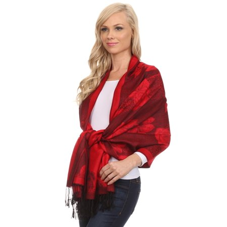 Rose Wrap - Sakkas Two Tone Rose Pashmina Scarf / Stole / Wrap - Cherry