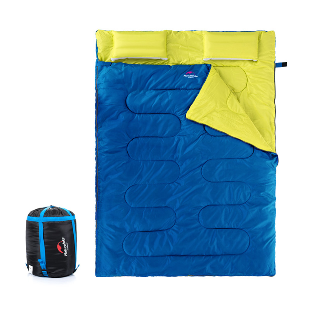 Double Sleeping Bag for Camping Hiking for Adults with 2 Pillows and Carrying Bag Blue by