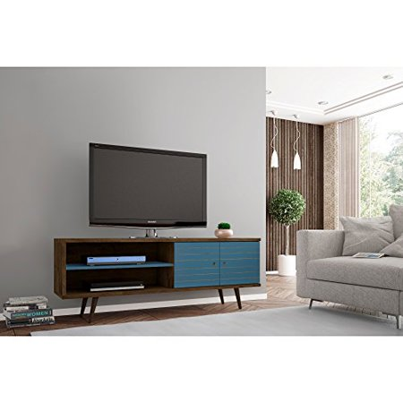 ModHaus Living Mid Century Modern 62.99 Inch TV Stand Storage with 3 Shelves 2 Doors and Solid Wood Legs - Includes Pen (Rustic Brown and Aqua Blue)