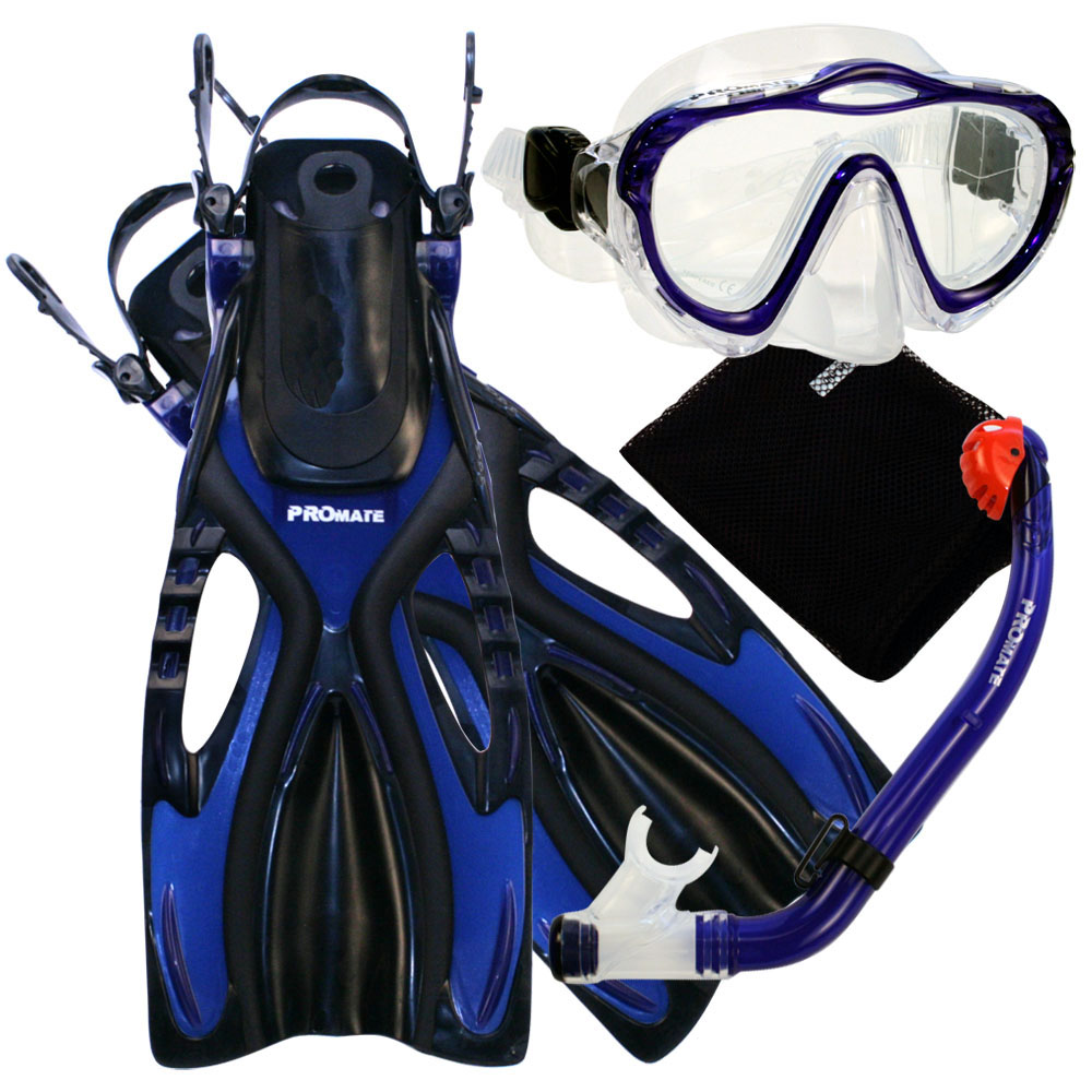 Promate Snorkeling Scuba Diving Mask, DRY Snorkel and Fin set for kids, Blue, S-XL by