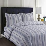 Printed Flannel 3 Piece Stripe Duvet Cover Set by Tribeca Living - Light Blue
