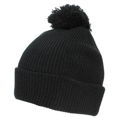 Best Winter Hats Quality Rib Knit Solid Color Cuffed Hat W/Pom Pom - Black Rib Knit Hat