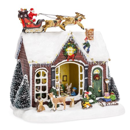 Best Choice Products Pre-Lit Musical Tabletop Christmas Village Decoration for Fireplace Mantle, Centerpiece w/ 9