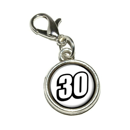 30 Number Thirty Bracelet Charm - Number Charms