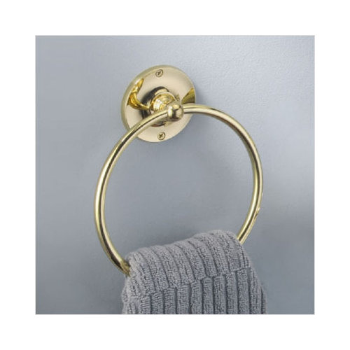 gatco designer towel ring in polished brass walmart